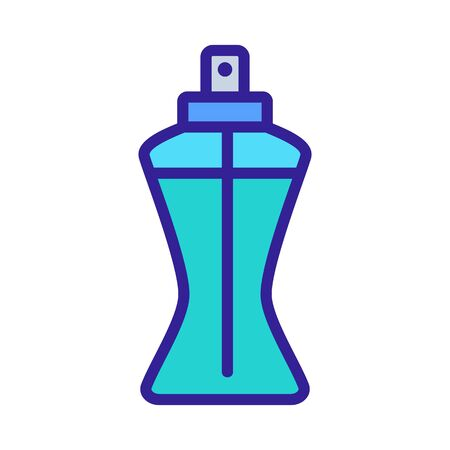 narrowed to bottom bottle of spray with liquid icon vector outline illustration