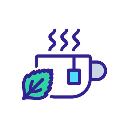 mint tea in cup icon vector. mint tea in cup sign. color symbol illustration Illustration