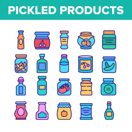 Pickled Product Food Collection Icons Set Vector. Pickled Berry And Fruit, Vegetables And Juice, Tomato And Cherry, Banana And Peach In Jar Concept Linear Pictograms. Color Illustrations