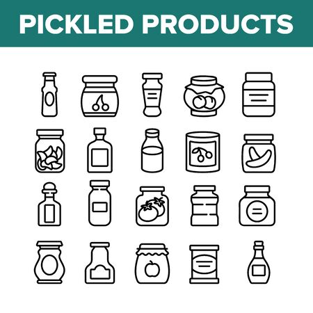 Pickled Product Food Collection Icons Set Vector. Pickled Berry And Fruit, Vegetables And Juice, Tomato And Cherry, Banana And Peach In Jar Concept Linear Pictograms. Monochrome Contour Illustrations