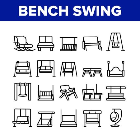 Bench Swing Furniture Collection Icons Set Vector. Bench Swing In Different Style, Comfortable Rocking Chair, Relaxation Porch Seat Concept Linear Pictograms. Monochrome Contour Illustrations Vecteurs