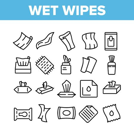 Wet Wipes Disinfectant Collection Icons Set Vector. Antibacterial Disinfect Packaging Wet Wipes And Towel Hygiene Accessory Concept Linear Pictograms. Monochrome Contour Illustrations