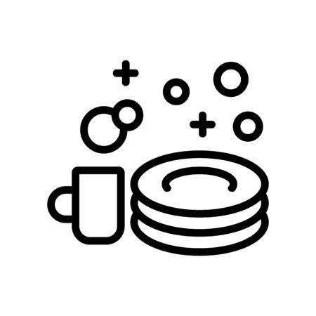 shine of washed dishes icon vector. shine of washed dishes sign. isolated contour symbol illustration