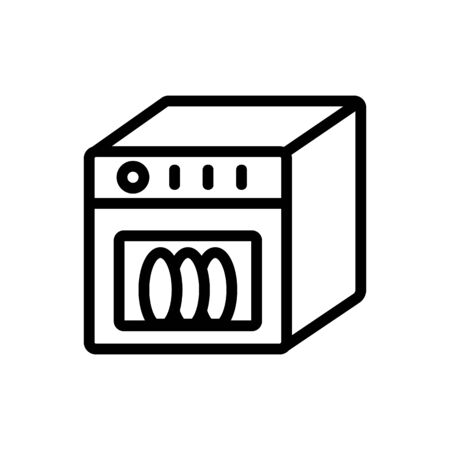 dishwasher in action side view icon vector. dishwasher in action side view sign. isolated contour symbol illustration
