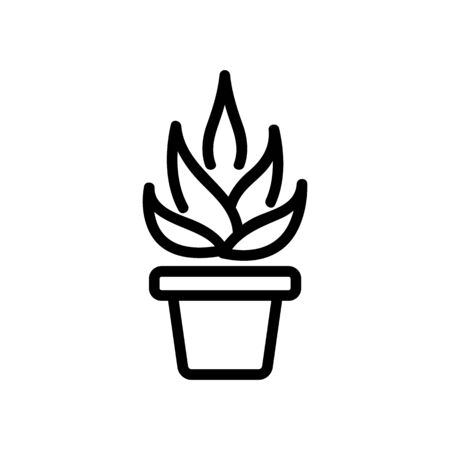 agave in home pot icon vector. agave in home pot sign. isolated contour symbol illustration  イラスト・ベクター素材