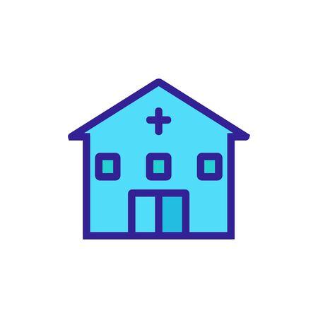 christian architectural building icon vector. christian architectural building sign. color symbol illustration Иллюстрация