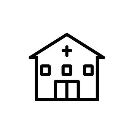 christian architectural building icon vector. christian architectural building sign. isolated contour symbol illustration