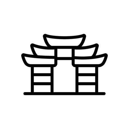 chinese temple icon vector. chinese temple sign. isolated contour symbol illustration 矢量图像