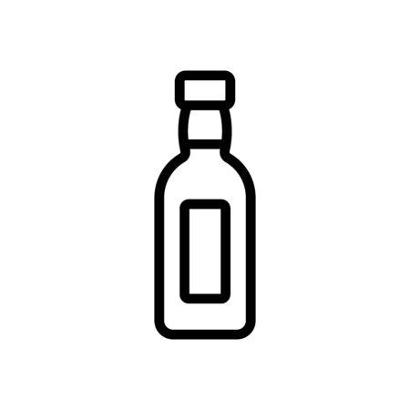 glass bottle of oil icon vector. glass bottle of oil sign. isolated contour symbol illustration Çizim