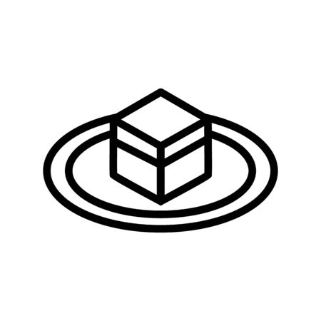 fenced cubic stone kaaba icon vector. fenced cubic stone kaaba sign. isolated contour symbol illustration