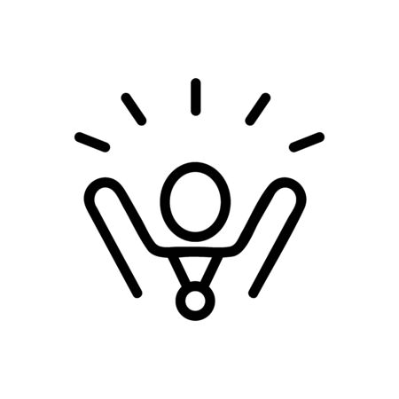 rejoicing winner with hands up icon vector. rejoicing winner with hands up sign. isolated contour symbol illustration