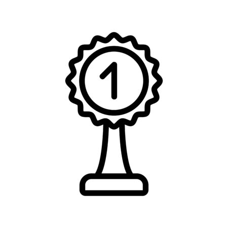 prize cup with number one icon vector. prize cup with number one sign. isolated contour symbol illustration