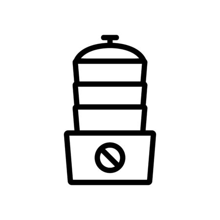 electric multi function steamer with one button icon vector. electric multi function steamer with one button sign. isolated contour symbol illustration