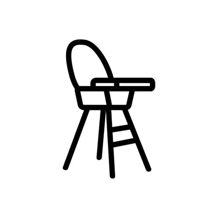 chair for feeding with table-top and with round back side view icon vector. chair for feeding with table-top and with round back side view sign. isolated contour symbol illustration