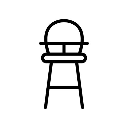 high wooden chair for feeding with table-top and with round back icon vector. high wooden chair for feeding with table-top and with round back sign. isolated contour symbol illustration Illustration