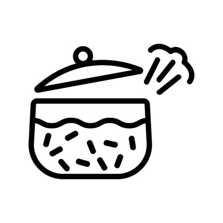 whistling pan about cooked boiling porridge icon vector. whistling pan about cooked boiling porridge sign. isolated contour symbol illustration