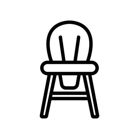 wooden children chair with round back icon vector. wooden children chair with round back sign. isolated contour symbol illustration Illustration