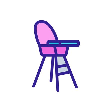 chair for feeding with table-top and with round back side view icon vector. chair for feeding with table-top and with round back side view sign. color symbol illustration Illustration