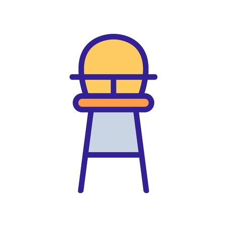 high wooden chair for feeding with table-top and with round back icon vector. high wooden chair for feeding with table-top and with round back sign. color symbol illustration