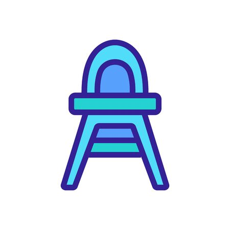 plastic feeding chair with rounded back icon vector. plastic feeding chair with rounded back sign. color symbol illustration