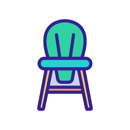 wooden children chair with round back icon vector. wooden children chair with round back sign. color symbol illustration Vecteurs