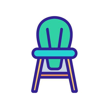 wooden children chair with round back icon vector. wooden children chair with round back sign. color symbol illustration