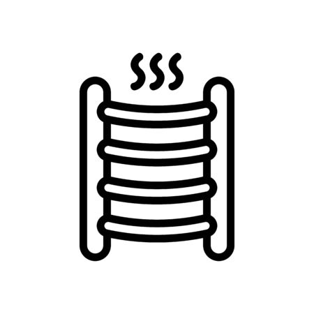 heated towel rail in drying action icon vector outline illustration