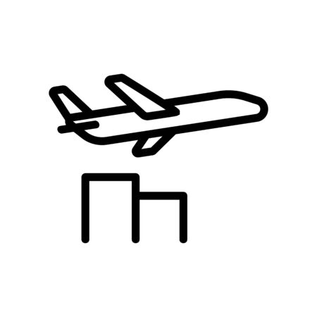 sound of airplane flying past houses icon vector. sound of airplane flying past houses sign. isolated contour symbol illustration