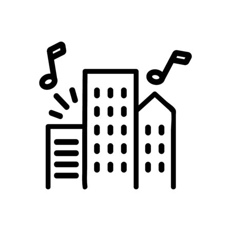 music sounding from apartment buildings icon vector. music sounding from apartment buildings sign. isolated contour symbol illustration