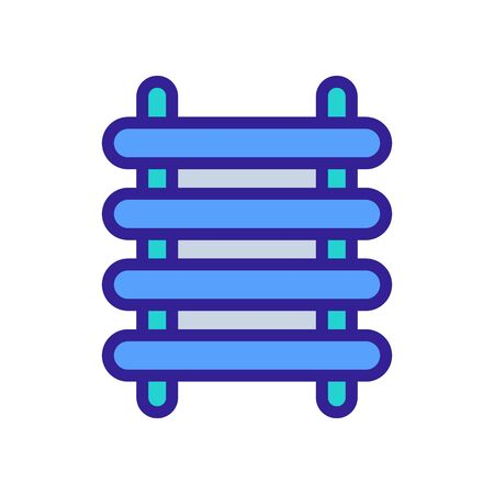 heated towel rail with large horizontal tubes icon vector outline illustration Çizim