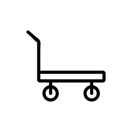 standard platform wheeled trolley for transportation icon vector. standard platform wheeled trolley for transportation sign. isolated contour symbol illustration Illustration