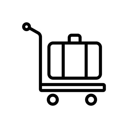 manual wheeled trolley with suitcase icon vector. manual wheeled trolley with suitcase sign. isolated contour symbol illustration