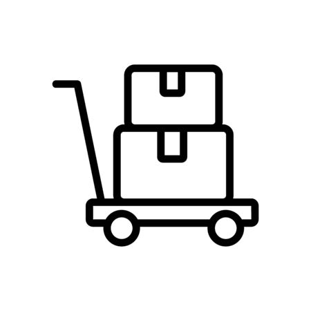 platform trolley with things icon vector. platform trolley with things sign. isolated contour symbol illustration