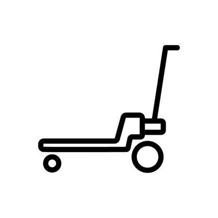 platform wheeled freight trolleys icon vector. platform wheeled freight trolleys sign. isolated contour symbol illustration Illustration