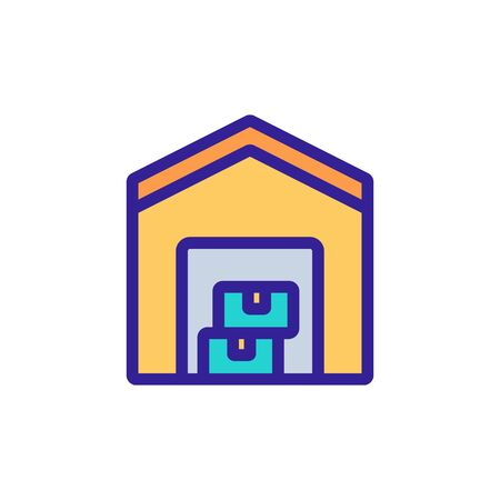 compact household warehouse hangar icon vector outline illustration