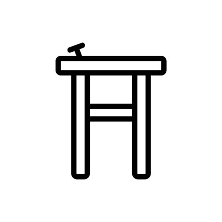 wooden chair with nail icon vector. wooden chair with nail sign. isolated contour symbol illustration