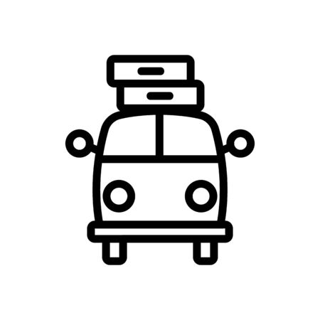 loaded with suitcases up bus front view icon vector. loaded with suitcases up bus front view sign. isolated contour symbol illustration