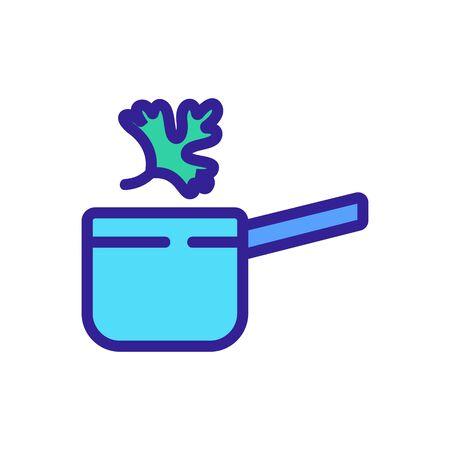 cooking in ladle of coriander icon vector. cooking in ladle of coriander sign. color symbol illustration
