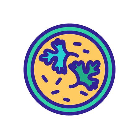 coriander leaves in bowl of soup icon vector. coriander leaves in bowl of soup sign. color symbol illustration