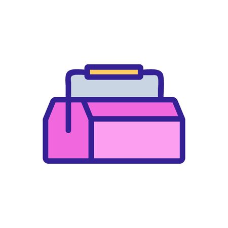 wooden tool box with handle icon vector. wooden tool box with handle sign. color symbol illustration
