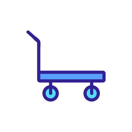 standard platform wheeled trolley for transportation icon vector. standard platform wheeled trolley for transportation sign. color symbol illustration