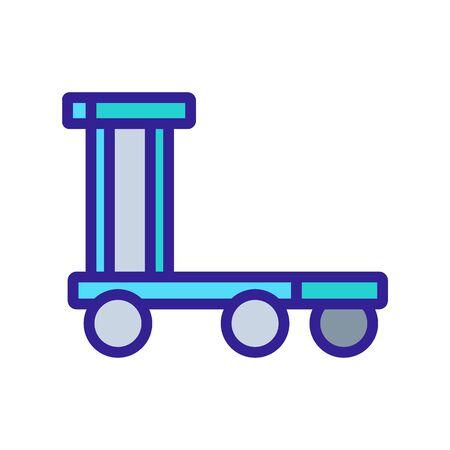 overall platform wheel trolley icon vector. overall platform wheel trolley sign. color symbol illustration