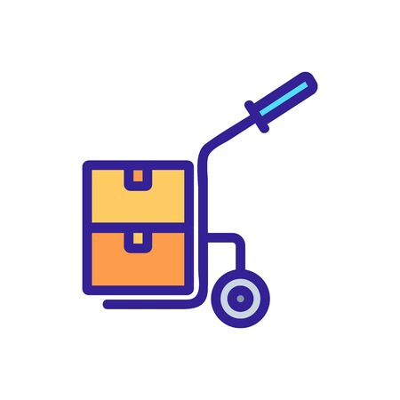 one wheeled trolley with handle and with suitcases icon vector. one wheeled trolley with handle and with suitcases sign. color symbol illustration Иллюстрация