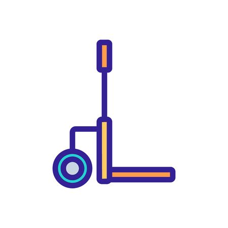 one wheeled trolley with handle icon vector. one wheeled trolley with handle sign. color symbol illustration