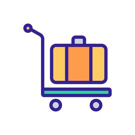 manual wheeled trolley with suitcase icon vector. manual wheeled trolley with suitcase sign. color symbol illustration