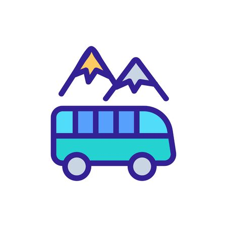 tour bus among mountains icon vector. tour bus among mountains sign. color symbol illustration Ilustracja