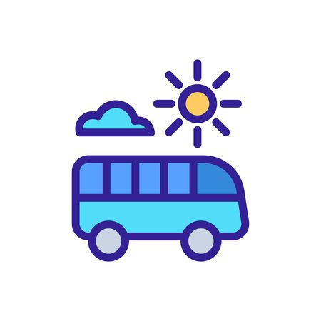 riding bus in fine sunny weather icon vector. riding bus in fine sunny weather sign. color symbol illustration