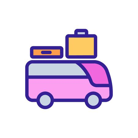 sightseeing bus with suitcases icon vector. sightseeing bus with suitcases sign. color symbol illustration