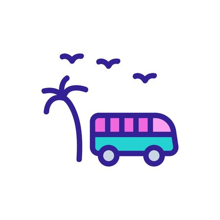 tourist bus among palm trees icon vector. tourist bus among palm trees sign. color symbol illustration