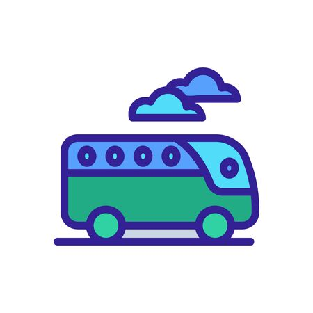 tourist bus in road clouds background icon vector. tourist bus in road clouds background sign. color symbol illustration
